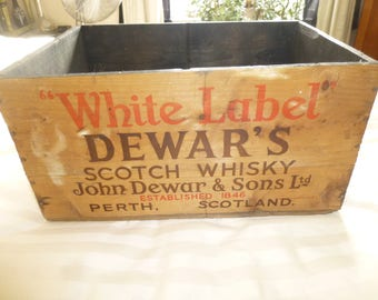 Dewars White Label Scotch Whiskey - antique wood crate  - great vintage condition and color - great graphics and text on 4 sides
