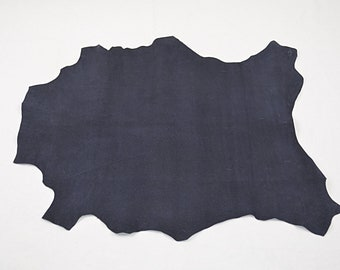 Navy blue velvet lambskin leather printed with shiny dots