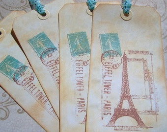Paris Style Gift Tags - 4 Ex-Large Travel Gift Tags - Paris France Vintage Stamped - Vintage Style Gift Tags - Hand Stamped and Distressed