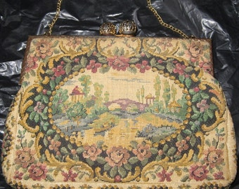 Sweet Antique Tapestry Purse