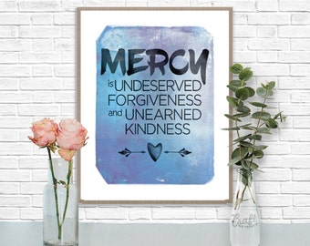 MERCY Digital Print • Blue Watercolor Textured Inspirational Quote • Instant Download Artwork • Home Decor Wall Art Printable