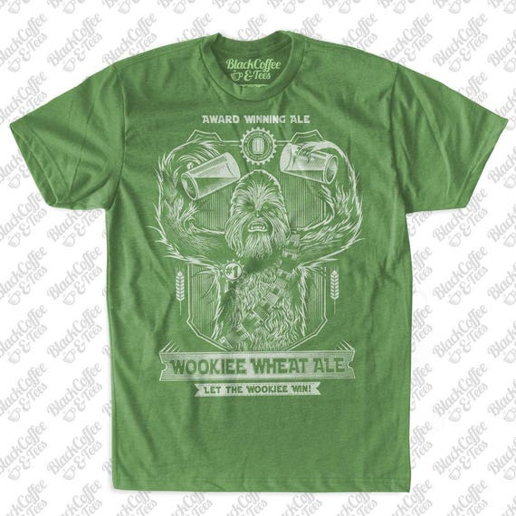 Mens Saint Patrick's Day Star Wars Shirt - Men's T-Shirt Chewbacca Shirt -Wookiee Chewie -Wookie Wheat Ale! Funny Green Shirt- St Pattys Day