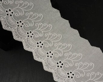 "3-3/4"" Off White Cotton Eyelet Lace Trim 2-Yards, TR-11416"