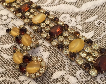 Stunning Vintage 1970s Demi Parure Juliana Style Yellow and Brown Crystal Rhinestone and Lucite Cabochon Bracelet and Earring Set