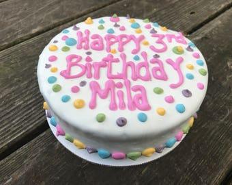 Dog Birthday Cake//Homemade Gourmet  Soft Polka Dot Birthday Cake for Dogs