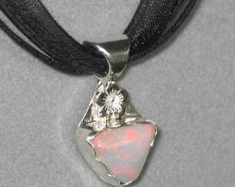 Ethiopian Opal, Welo Opal, Sterling Silver Pendant, Great Fire