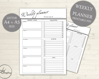 A4 & A5 Weekly Planner - Weekly Planner - Printable Planner - Weekly Schedule - Office Schedule Printable - Week Layout 101