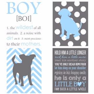 Custom BOY (4) print set HOLD HIM Little Boy Dog Art Nursery Art decor Playroom Rules Subway Art Baby Boy Wall Art Decor Nursery  sc 1 st  ThePrintsCess & Custom BOY (4) print set HOLD HIM Little Boy Dog Art Nursery Art ...