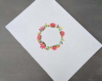 Multicoloured floral wreath
