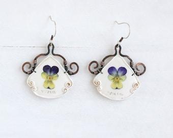 Pansy Earrings, Real Flower Earring,. Real Flower Jewelry, Vintage Earrings, Romantic Earrings, Copper Earrings, 925 Sterling Silver