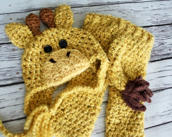 Baby Giraffe Costume - Giraffe Hat and Pants Set - Giraffe Hat - Halloween Baby Costume - Giraffe Hat and Pants with Tail - by JoJosBootique