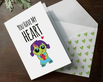 INSTANT DOWNLOAD cute zombie girl walking dead You Have My Heart funny love anniversary romantic love card illustrated printable card