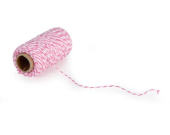 Bakers Twine - Small Roll - Pink/White - 105 feet   small spool  pink white