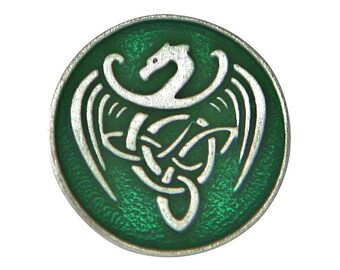 2 Celtic Dragon 13/16 inch ( 21 mm ) Pewter Buttons Green Background