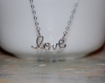 sterling silver love necklace-  dainty love necklace, silver love necklace, valentine necklace