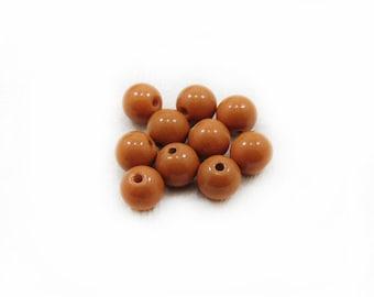 Caramel Glass Beads, Glass Beads, Brown Beads, 10mm Glass Beads, 10 pcs Beads, Jewelry Making, DIY  Beads