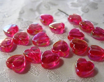Transparent Red AB Lucite Acrylic Small Heart Beads Charm 8mm 821