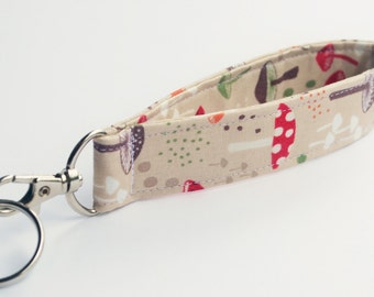 Key Fob,  Fabric Keychain With Snap, Woodland Mushrooms