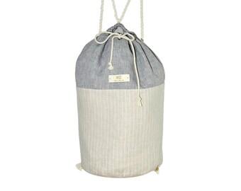 HELE BUCKET BAG Stripes Sand-Gray