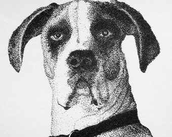 Instant Download of Great Dane Pointillism Drawing
