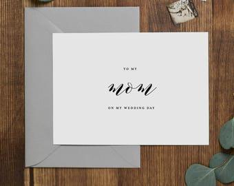 Wedding Card To My Mom Wedding Day - To My Mother Wedding Card, Wedding Stationery, To My Mom, Thank You Wedding Card, Wedding Note, K10