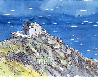 Sifnos Seven Martyrs Church Greece print from an original watercolor painting