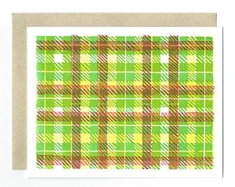 Chartreuse Madras Letterpress Card