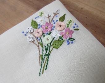 Bridal bouquet handkerchief hand embroidered roses lavender cream ivory ecru Irish linen lace wedding hankie mother bride groom