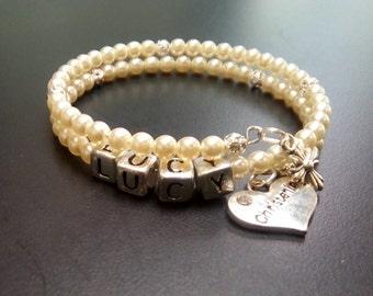 Personalised Child's Wrist Wrap Bracelet, Pearl Beads, Christening Charm, Catholic Jewellery