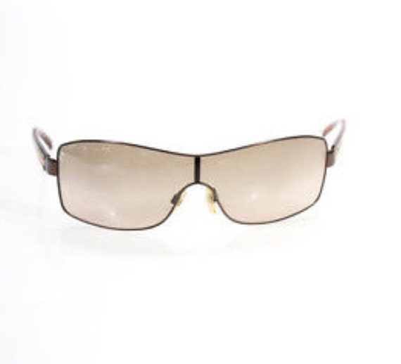 Chanel Brown Lens Red Arm Shield Sunglasses In Case