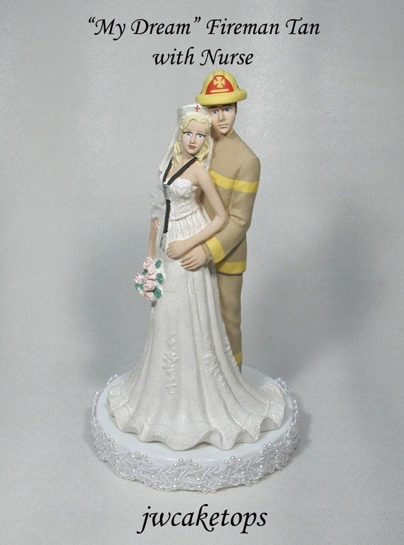redhead wedding cake topper fireman groom and wedding cake topper 49ftn 19127