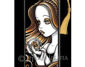 Seika Amber Rose Crystal Ball Angel Art Bookmark by Myka Jelina