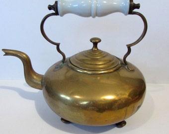 Antique/Vintage Brass Kettle with white Glass Handle /MEMsArtShop .