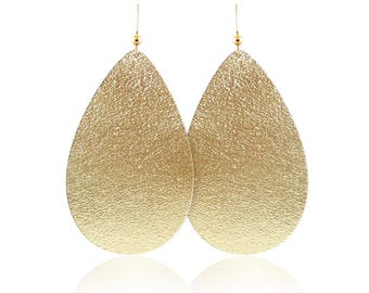 Gold leather earrings, gold leather teardrop earrings, leather earrings