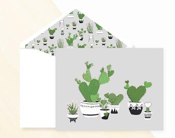 Cactus Greeting Card Grey, Cactus Greeting Card, Plant Card, Mini cactus, flowering cactus, nopal cactus, types of cactus plants