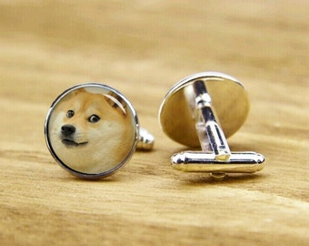Dog Cufflinks, Hello, This Is Dog, Custom Your Dog, Personalized Cufflinks, Custom Own Photo Cufflinks, Round, Square Cufflinks, Tie Clips