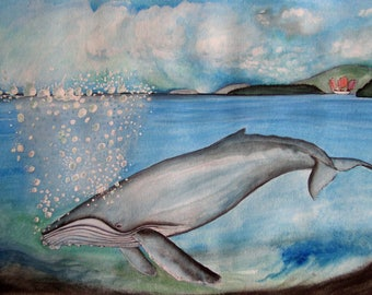 Watercolour Notecards, Blank inside, Humpback whale,