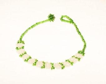 Green and White Flower Bracelet