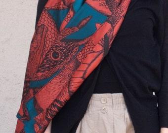 Twill of silk's scarf, mixed drawn animals (deer, rabbit, marmot, mouflon, butterflies), bright khaki and blue