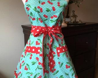 Messime handmade cherry/polka dot apron
