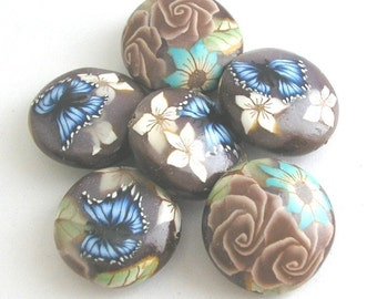 Polymer Clay Beads, Coffee Brown Beads, Lentil Beads 6 Pieces