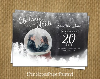 Photo Save The Date Card,Winter Wedding,One Photo,Snow Globe,Engagement Card,Romantic,Modern,Elegant,Customize,Printed Cards,White Envelopes