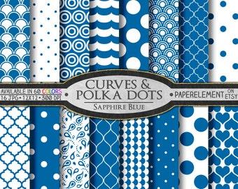 Sapphire Blue Polka Dot Digital Paper: Blue Circles Digital Paper - Jewel Tone White and Blue Patterns for Scrapbook Digital Printables