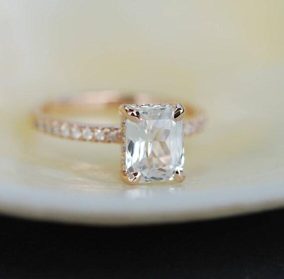 Blake Lively ring  White Sapphire Engagement Ring emerald cut 14k rose gold diamond ring 2.03ct sapphire ring