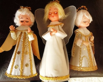 Vintage Angel Kitschy Tree Topper White and Gold Lot of 3 Non Lighted