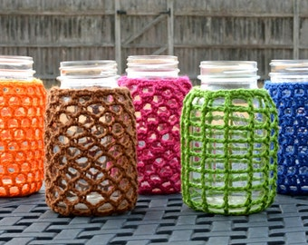 Mason Jar Cozies - PDF Crochet Pattern - Instant Download