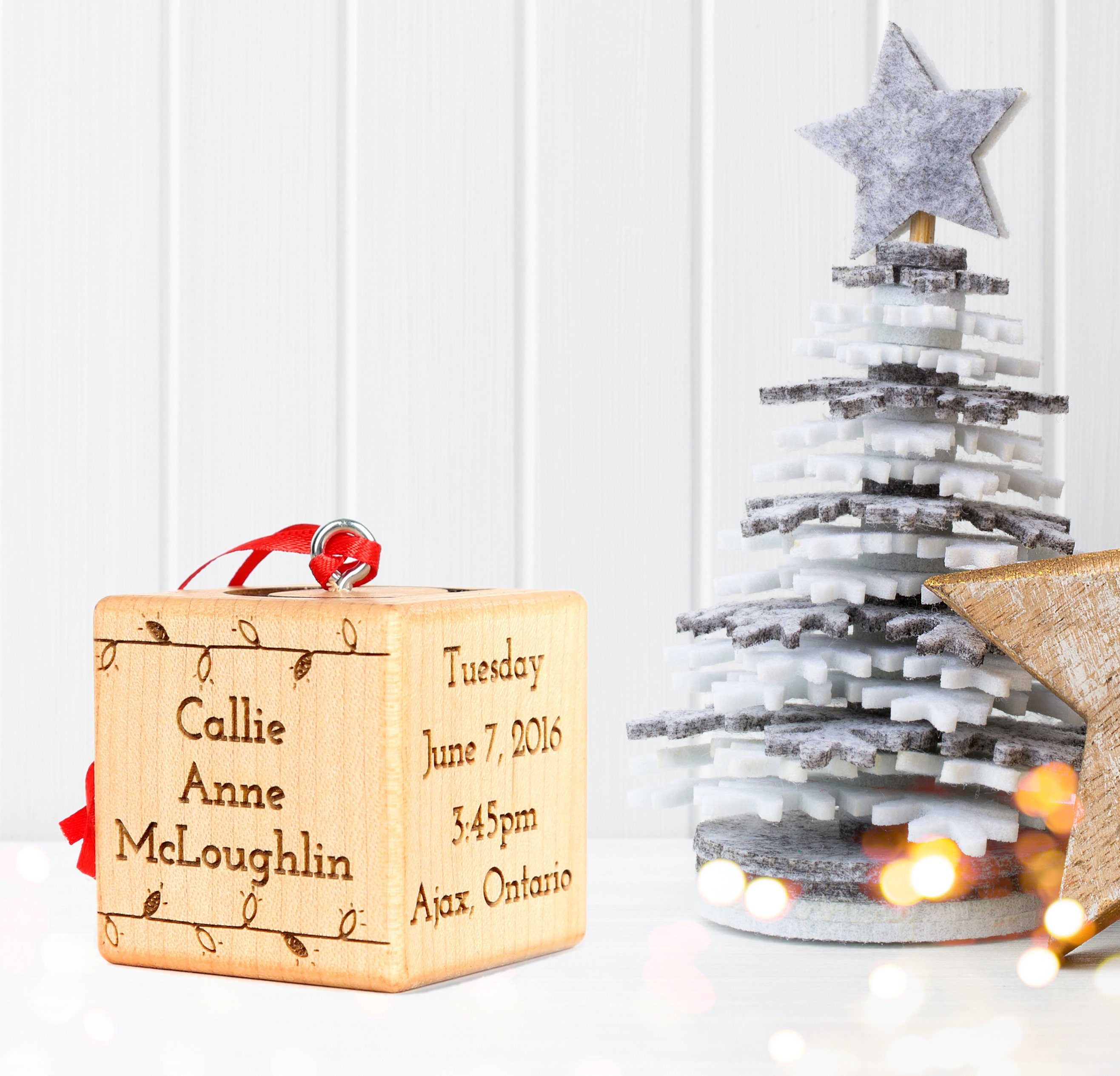 2 solid maple engraved baby block christmas ornament request a custom order and have something made just for you negle Image collections