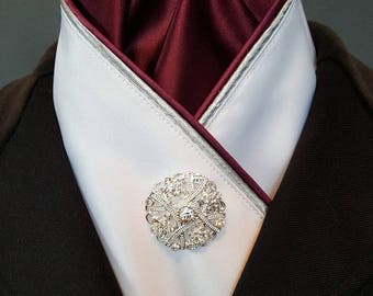 Burgundy and Silver Equestrian Pzazz Stock Tie