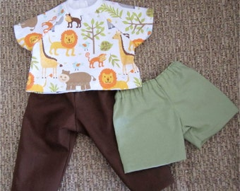 "15"" Baby Doll Brown Pants Light Green Shorts Jungle Animal Print T Shirt Fits Bitty Baby or Other 15"" Baby Dolls or Twin Dolls"
