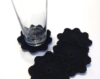 Black Crocheted Coasters-Set Of Four